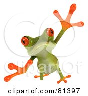 3d Green Tree Frog Taking A Big Leap Forward