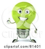 Green 3d Electric Light Bulb Head Character Giving The Thumbs Up