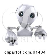 Royalty Free RF Clipart Illustration Of A 3d Robot Boy Character Holding A Blank Sign Board by Julos