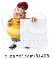 3d Chubby Burger Man Pointing To And Standing By A Blank Sign