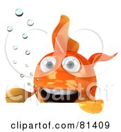 Royalty Free RF Clipart Illustration Of A 3d Excited Goldfish Character With Bubbles Holding A Blank Sign Board by Julos