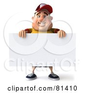 Royalty Free RF Clipart Illustration Of A 3d Chubby Burger Man Standing With A Blank Sign by Julos