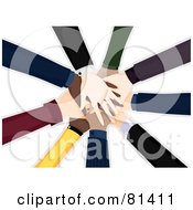 Royalty Free RF Clipart Illustration Of A Pile Of Diverse Business People Hands by BNP Design Studio