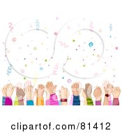 Royalty Free RF Clipart Illustration Of Childrens Hands Waving Under Confetti