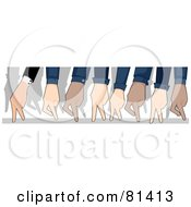 Royalty Free RF Clipart Illustration Of Diverse Business People Hands Walking On Fingers