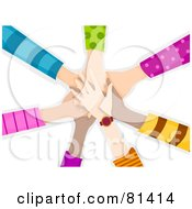 Royalty Free RF Clipart Illustration Of A Team Of Childrens Hands Piled
