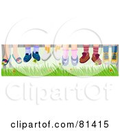 Royalty Free RF Clipart Illustration Of A Group Of Childrens Feet Hanging Down Over Grass by BNP Design Studio