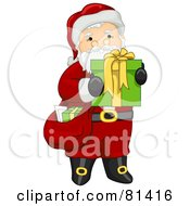 Royalty Free RF Clipart Illustration Of A Jolly St Nick Carrying A Sack And Present