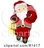 Royalty Free RF Clipart Illustration Of A Jolly St Nick Carrying A Lantern And Sack by BNP Design Studio