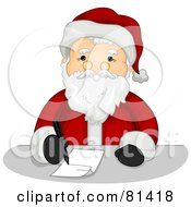 Royalty Free RF Clipart Illustration Of A Jolly St Nick Writing A List