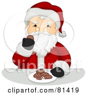 Royalty Free RF Clipart Illustration Of A Jolly St Nick Enjoying Cookies by BNP Design Studio