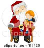 Royalty Free RF Clipart Illustration Of A Jolly St Nick Giving A Gift To A Happy Boy by BNP Design Studio