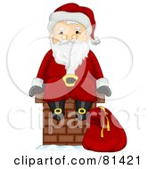 Royalty Free RF Clipart Illustration Of A Jolly St Nick Sitting On A Brick Chimney by BNP Design Studio