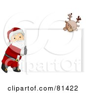 Royalty Free RF Clipart Illustration Of A Jolly St Nick Pushing A Blank Sign And A Reindeer Looking Over It by BNP Design Studio