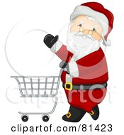 Royalty Free RF Clipart Illustration Of A Jolly St Nick Pushing A Shopping Cart by BNP Design Studio