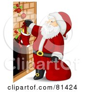 Royalty Free RF Clipart Illustration Of A Jolly St Nick Putting Stuffers In Stockings by BNP Design Studio