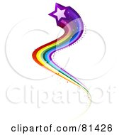 Royalty Free RF Clipart Illustration Of A Purple Star With A Curvy Rainbow Trail