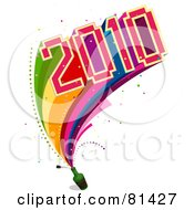Royalty Free RF Clipart Illustration Of A Colorful 2010 Exploding From A Bottle With A Rainbow