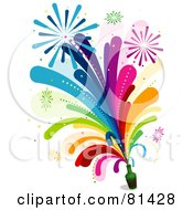Royalty Free RF Clipart Illustration Of Rainbow Fireworks Shooting Out Of A Bottle