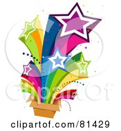 Royalty Free RF Clipart Illustration Of A Rainbow Stars Shooting Out Of A Box by BNP Design Studio