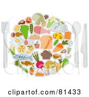 Royalty Free RF Clipart Illustration Of A Collage Of Food Items Forming A Plate