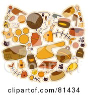 Royalty Free RF Clipart Illustration Of A Brown And Orange Collage Of Cat Items Forming A Cat Face