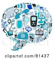 Royalty Free RF Clipart Illustration Of A Blue Collage Of Communication Items Forming A Word Balloon