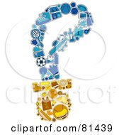 Royalty Free RF Clipart Illustration Of A Collage Of Sports Items Forming A Medal