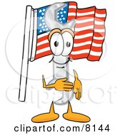 Clipart Picture Of A Wrench Mascot Cartoon Character Pledging Allegiance To An American Flag by Toons4Biz
