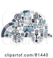 Royalty Free RF Clipart Illustration Of A Collage Of Urban Items Forming A Car