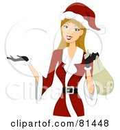 Royalty Free RF Clipart Illustration Of A Dirty Blond Woman Dressed In A Santa Suit by bnpdesignstudio
