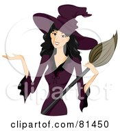 Royalty Free RF Clipart Illustration Of A Pretty Black Haired Woman In A Purple Witch Costume