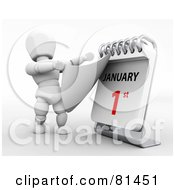 Royalty Free RF Clipart Illustration Of A 3d White Character Ripping Off A Day On A Desk Calendar To Reveal January 1st