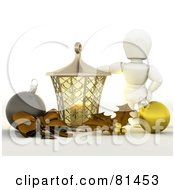 Royalty Free RF Clipart Illustration Of A 3d White Character Standing By A Candle Lantern With A Bow Baubles And Holly