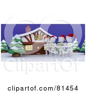 Royalty Free RF Clipart Illustration Of 3d White Characters Christmas Caroling Outside A House