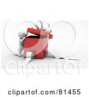 Royalty Free RF Clipart Illustration Of A 3d White Character Peeking Inside A Red Gift Box With White Ribbons And A Bow