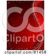 Red Floral Background Bordered With Stars And Waves