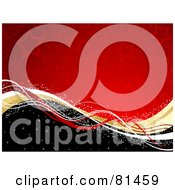 Royalty Free RF Clipart Illustration Of A Red Starry Background With Golden Waves On A Black Hill