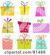 Royalty Free RF Clipart Illustration Of A Digital Collage Of Colorful Retro Christmas Gifts With Ribbons And Bows by KJ Pargeter