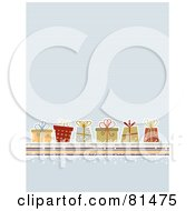 Royalty Free RF Clipart Illustration Of A Blue Lined Background With Retro Christmas Presents