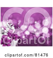 Royalty Free RF Clipart Illustration Of A Purple Sparkle Background With Wrapped Christmas Presents