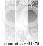 Royalty Free RF Clipart Illustration Of A Digital Collage Of Three Silver Christmas Winter Banners by KJ Pargeter