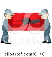 Royalty Free RF Clipart Illustration Of A Team Of Two Male Movers Carrying A Red Couch by Rosie Piter