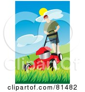 Royalty Free RF Clipart Illustration Of A Caucasian Man Pushing A Red Lawn Mower Over Tall Grass by Rosie Piter