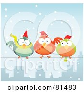 Royalty Free RF Clipart Illustration Of Chubby Christmas Birds Wearing Santa Hats And Perched On A City Wire In The Snow