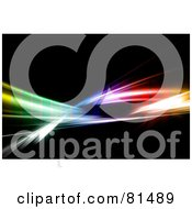 Royalty Free RF Clipart Illustration Of A Layer Of Colored Transparent Pixels Over Rainbow Fractal Swooshes On Black