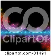 Royalty Free RF Clipart Illustration Of A Black Background With A Colorful Section Of Halftone Dots by Arena Creative