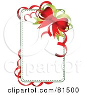 Royalty Free RF Clipart Illustration Of A Blank White Christmas Tag Or Sign With Red And Green Ribbons And Bows