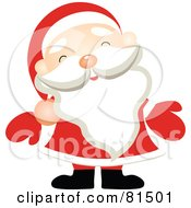 Royalty Free RF Clipart Illustration Of A Jolly Santa Wearing Red Mittens