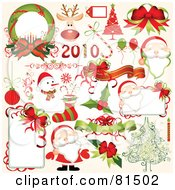 Royalty Free RF Clipart Illustration Of A Digital Collage Of New Year And Christmas Design Elements by OnFocusMedia